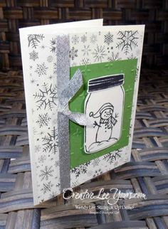 Snowman Jar by Christi Smith,Jar of Love stamp set, jar of cheer stamp set, everyday jars framelits, stampin up, #creativeleeyours, christmas, hand made card, diemonds team swap - SU - CAS