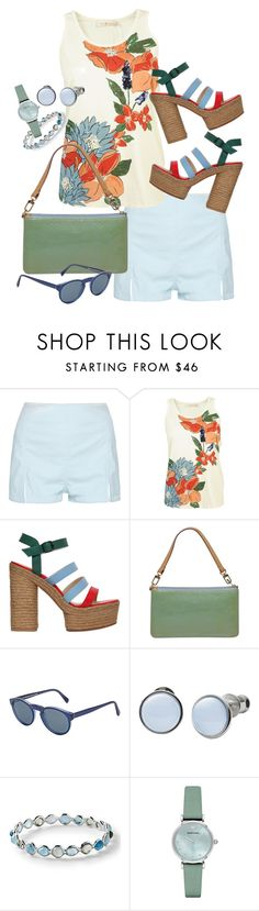 """""""Shorts weather!"""" by ellemcbeer ❤ liked on Polyvore featuring Tory Burch, Castañer, Louis Vuitton, RetroSuperFuture, Skagen, Ippolita and Emporio Armani"""