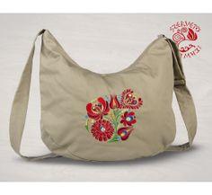 Szervető-matyó félhod táska - bézs Drawstring Backpack, Diaper Bag, Folk, Backpacks, Tote Bag, Bags, Hungary, Products, Fashion