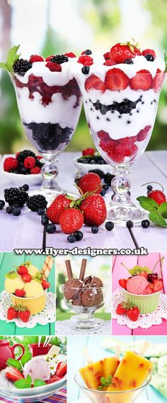 fruit ice cream ideas images suitable for ice cream parlour flyer design www.flyer-designers.co.uk #icecream #pudding #icecreamflyers