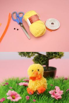 If you love pom pom crafts and are looking for an easy and fun one to do this Easter, you'll have a great time making a cute Easter chick! Break out your crafting supplies and check out the video tutorial for step-by-step instructions. Easter Projects, Bunny Crafts, Easter Crafts For Kids, Cute Crafts, Craft Stick Crafts, Easter Dyi, Diy Crafts To Do, Unicorn Crafts, Preschool Crafts