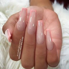 // ✨ – Long Nail Designs – Water // ✨ – Long Nail Designs – Related Cute Spring Nails and Nail Art Erstaunliche Gel Nail Art. Summer Acrylic Nails, Best Acrylic Nails, French Tip Acrylic Nails, Square Acrylic Nails, Nail Summer, Acrylic Nails With Design, Acrylic Nails Coffin Pink, Long Square Nails, Pink Coffin