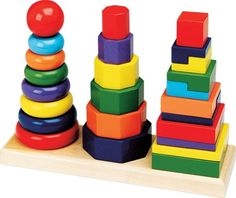 Melissa & Doug Geometric Stacker. Empty pegs, colorful rings within reach...Your child intuitively knows what to do! Children build vivid block towers, their brains stockpile the benefits! Children are creative & imaginative as they stack, mix & match 25 unique rings. Learning about color, shape, size, sequence, & problem solving comes naturally with this engaging timeless stacking toy. High Quality Melissa & Doug Construction.