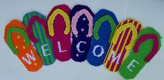 needle point flip flop canvas | Flip Flop Welcome Sign Plastic Canvas Pattern | eBay