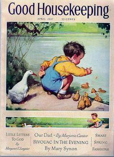 Horace Gaffron - Vintage Good Housekeeping Boy with Ducks Vintage Ephemera, Vintage Postcards, Vintage Ads, Vintage Prints, Vintage Dress, Images Vintage, Vintage Pictures, Old Magazines, Vintage Magazines