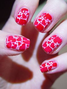 valentine hearts,,omgkitties #nail #nails #nailart