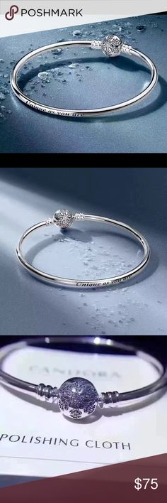 "Pandora Snowflakes Bangle unique as u are engraved Pandora Snowflakes Bangle you are unique engraved, 19"".  Special edition.  ‼️Comes with special edition box.  💕Pretty by itself or with one charm.❤️ 💯sterling silver.  Glittering snow flake.  Engraved with ""Unique As You are""!  You deserve it🤗🤗🤗 Pandora Jewelry Bracelets"