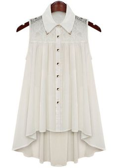 White Contrast Lace Sleeveless Loose Blouse