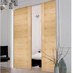Double Pocket Sofia Oak Solid Internal Doors - Prefinished #pocketdoors #interiordoors #moderndoors