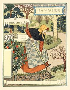Eugène Grasset (1841 - 1917) Janvier (January)  Medium: Wood engraving
