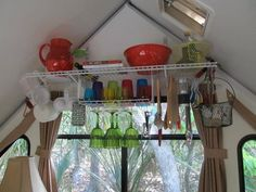 More playhouse fun!  Removable shelves my brother installed in my 2005 Aliner Expedition.