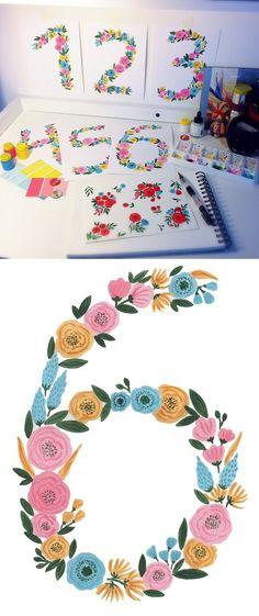 Floral number six, print watercolor. Watercolor Flowers