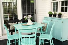 If space is limited, treat one corner of the porch like a small breakfast nook. A small rounded table and two to four chairs can cozy up into a small space and leave room for settees, rockers and armchairs on the rest of the porch.
