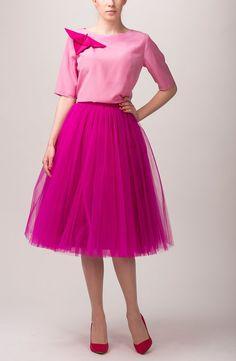 f99d49248902 Fuchsia tulle skirt, Handmade long skirt, Handmade tutu skirt, High quality  skirt, Tea length petticoat, Tea length skirt