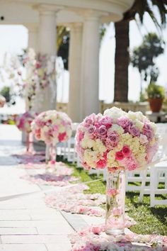 See more about wedding aisle flowers, pink color schemes and wedding pink.