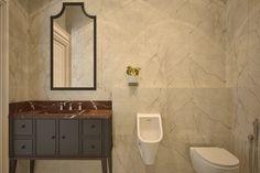 Мебель и сантехника для ванной комнаты для мужчин в минималистичном стиле. Тумба-умывальник с закрытыми фасадами, с множеством ящичков и систем хранения для бутовых принадлежностей. Освещение выполнено точечное.