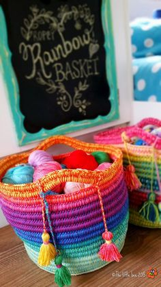 Ropey Rainbow Basket Free Crochet Pattern. Couldn't find pattern on link. But I'll keep looking.
