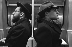 Richard Sandler - New York in the 1980's. Subway subculture: Sandler took this shot, 'Hasid and Hipster,' on a subway in 1990