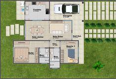 Projeto C016 - Casa com 2 quartos, 1 suíte e 2 banheiros Modern House Plans, Small House Plans, House Construction Plan, Two Bedroom House, Bristol, Floor Plans, House Design, Tiny Home Designs, Minimalist Home
