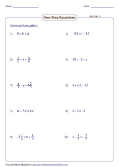 solving Multi Step Equations Worksheets
