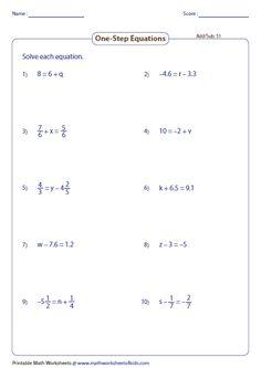 Free worksheets for linear equations (pre-algebra, algebra