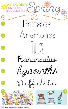 My favorite Spring fonts plus dingbats and doodles