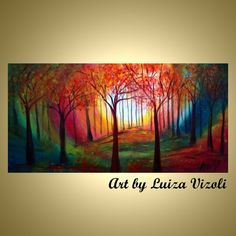 MAGIC FOREST Original Modern Abstract Trees Landscape Large Painting by Luiza Vizoli
