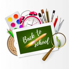 Image of digital tablet on students desk showing back to school message. Modern school background welcome back to school with rocket pencil creativ idea and with supplies. Welcome Back To School, Student Desks, Digital Tablet, Royalty Free Images, Pencil, Messages, Creative, Illustration, Modern