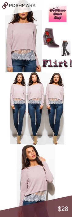 New! Flirt w Me  Scallop Lace Boho Top This top is Super cozy & Soft perfect for the holiday romance. Perfect for Romantically Cozy up due to  this woven top that is just as soft as CASHMERE! With a added Long sleeve to keep you warm without compromising your style.  Color: Dusty Mauve Pink  Features: woven Rayon poly mix shapes. Cropped bodice lined with a sheer white lace hem contrast.  -70% Rayon  -26% Polyester  - 4% Spandex Measured in inches  Small chest 19, Length 18.5in  Medium…