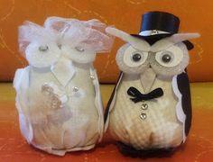 l'ho fatto io!coppia di gufetti just married di stoffa imbottiti e decorati