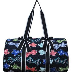 65c76bec6e Bow Tie Print Quilted Large Duffle Bag-Nav