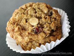 Cranberry Oatmeal Cookies... Use the Food Network link to see the recipe.  http://www.foodnetwork.com/recipes/oatmeal-cranberry-cookies-recipe/index.html   I would add white chocolate chips and remove the cardamon.  It would also be good with dried cherry craisins or dried blueberries.