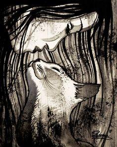 """THE CAT KISS"" Original painting by Raphaël Vavasseur art Original painting: http://ift.tt/1RpReVa Fine art prints: http://ift.tt/2pWrQC0"