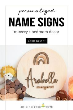 Personalized wooden name signs are the perfect finishing touch for your  baby's nursery, child's bedroom, or play space! Choose from several designs to suit your child's personality and decor theme, all in timeless natural wood tones. Shop now at smilingtreetoys.com  #nurserydecor #bedroomdecor #namesigns #woodnamesign Wood Name Sign, Wood Names, Newborn Baby Gifts, New Baby Gifts, Kids Gifts, Wooden Alphabet Letters, Fun Activities For Toddlers, Handmade Wooden Toys, Personalized Banners