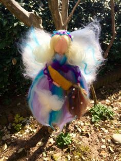 Rainbow Fairy in carded and fairytale wool. by CreazioniMonica