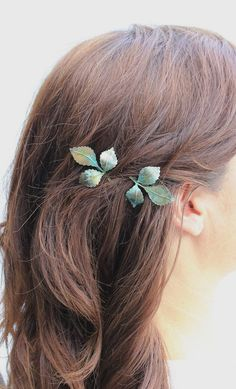 Leaf Bobby Pins Leaves Branch Patina Verdigris