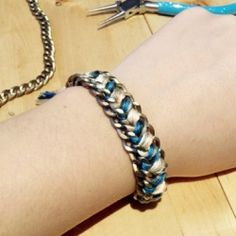 "Make this woven chain bracelet for under $5! ""The ultimate ""grown-up"" friendship bracelet"" DIY with step-by-step instructions."