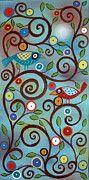 Folk Art Paintings - Branch Birds by Karla Gerard