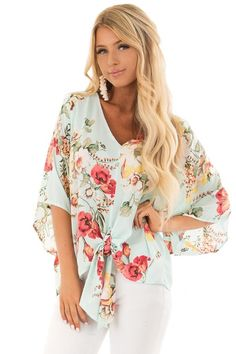 536cb8a6cb00c Lime Lush Boutique - Teal Floral Blouse with Front Knot Detail