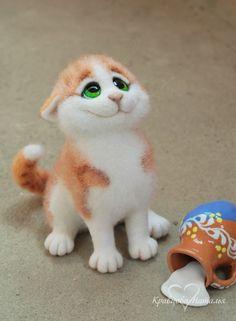 Купить Рыжий шкода Бернард - рыжий, кот, котенок, полосатый, игрушка, Валяние, войлок, пушистый