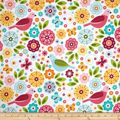 Designed by Zoe Pearn for Riley Blake, this cotton print is perfect for quilting, apparel and home decor accents. Colors include blue, green, dark green, pink, light pink, yellow, orange, fuchsia, teal with white background.