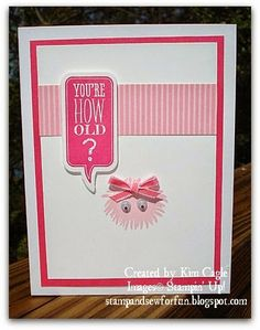 Stamp and Sew For Fun - Simple Stems Monster Cards, Stampin' Up! Happy Birthday Girl