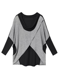 Fashionable Casual Contrast Irregular Batwing Loose Patchwork Cotton Women T-shirt Online - NewChic