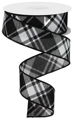 "Black /& White Plaid Wire-Edged Ribbon 1.5/"" W x 10 yards"