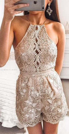 cute gold sequins romper, short homecoming dresses party dresses - Jumpsuits and Romper Rompers For Teens, Rompers Women, Jumpsuits For Women, Fancy Romper, Formal Romper, Homecoming Romper, Homecoming Dresses, Formal Evening Dresses, Elegant Dresses