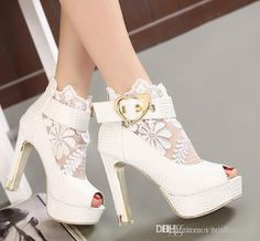 Cute Wedding Shoes Y Pink White Lace Heels Bridal Buckle Chunky Platform