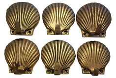 Brass Shell Hooks, S/6 on OneKingsLane.com