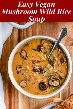 This Vegan Mushroom Wild Rice Soup is severely SO creamy that you could by no means wager it is completely dairy-unfastened & made with no cream Wild Rice Recipes, Best Soup Recipes, Healthy Soup Recipes, Vegan Dinner Recipes, Vegan Dinners, Vegetarian Recipes, Vegetarian Stew, Healthy Dinners, Delicious Recipes
