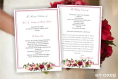 Printable wedding ceremony program template I wedding fan by Oxee, $5.00