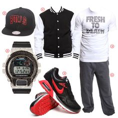 Casual street! Get the look!  1. Chicago Bulls NBA Snapback Hat by Mitchell & Ness  2. Aviation Swarovski Crystals Watch by G-Shock  3. Nike Air Max Correlate Sneakers  4. Basic Varsity Jacket  5. Fresh To Death Tee by Nike  6. Heavyweight Fleece Sweatpants by Rocawear